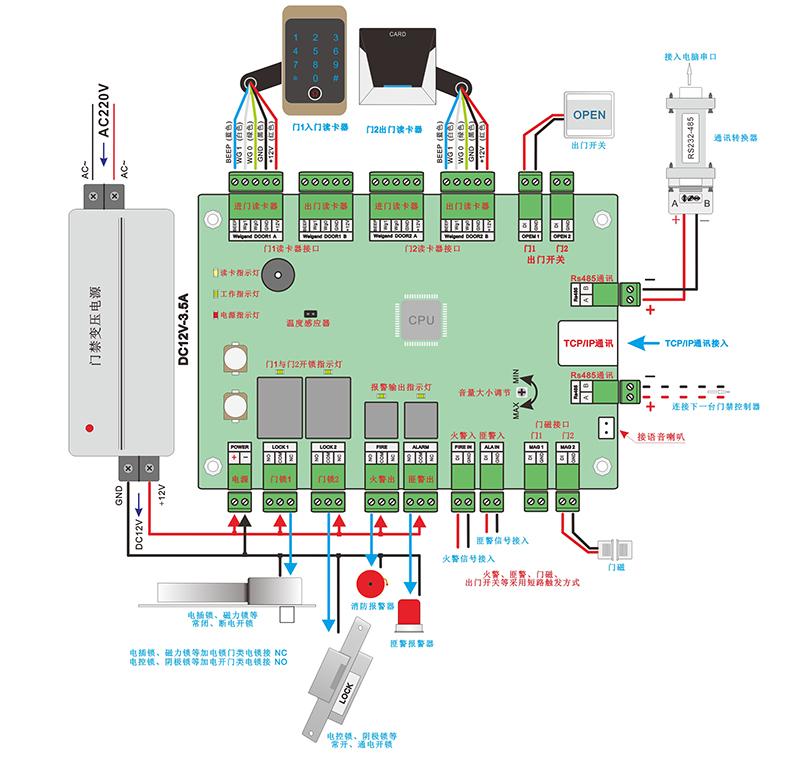门禁控制器的接线图