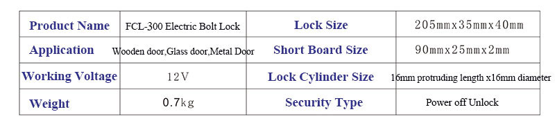Electric Bolt Lock Product Size