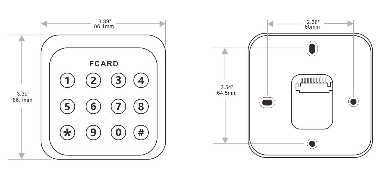 按键门禁读卡器的尺寸图